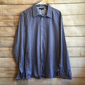 TED BAKER BLUE PRINT SHIRT WITH FRENCH CUFFS
